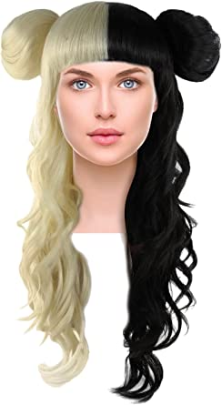 Admirable Amazon Com Long Curly Wig W Bangs Two Tone Hair Side Buns For Schematic Wiring Diagrams Amerangerunnerswayorg