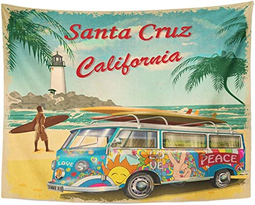 Emvency Tapestry Wall Hanging Beach Santa Cruz California Retro Vintage Surfer Van Surfing Bus Tropical 1960S Polyester Fabric Home Decor for Living Room Bedroom Dorm 60×80 Inches