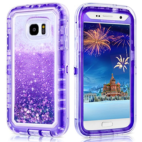 Galaxy S7 Case,Wollony 360 Full Body Shockproof Liquid Glitter Quicksand Bling Case Heavy Duty Phone Bumper Soft Non-Slip Clear Rubber Protective Cover for Samsung Galaxy S7 (Purple)