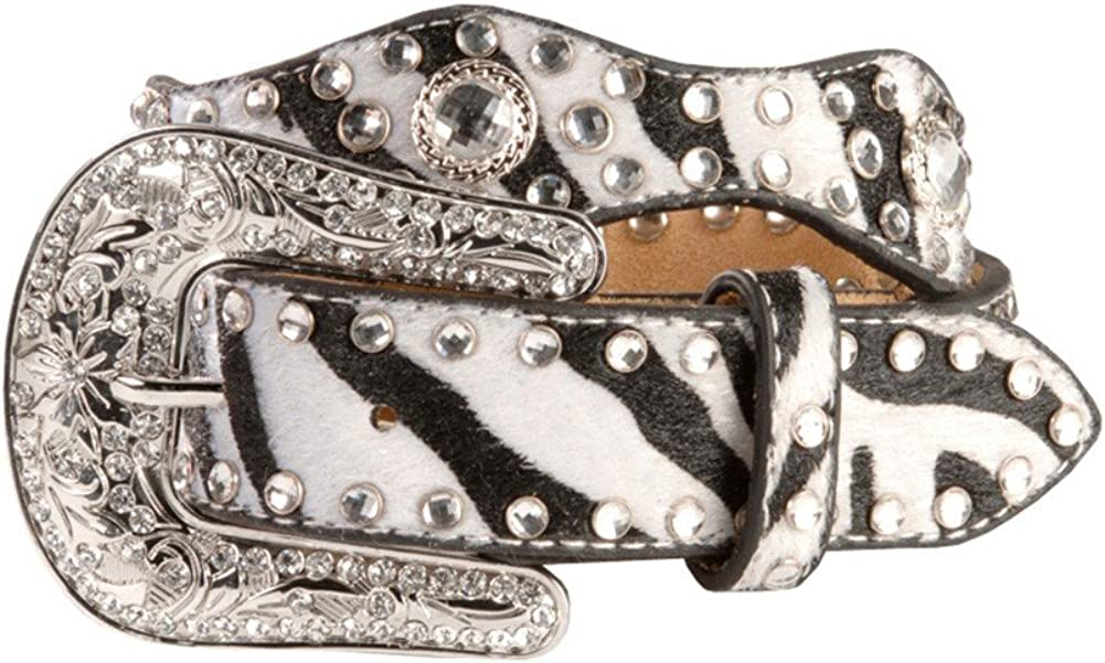 M+F Western Products Boys MF Zebra Belt with Crystals