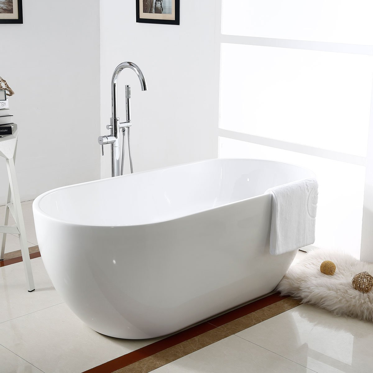 BHBL 60 In Seamless White Acrylic Freestanding Bathtub (C AT 11572)      Amazon.com