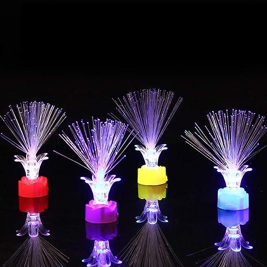ZHOUBA 4 Piezas LED en Forma de Rosa de Fibra óptica Intermitente ...