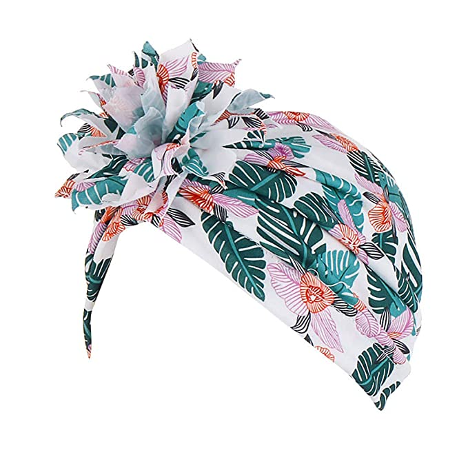 Lady Big Flower Lace Turban Cap Elegant Retro Indian Hat Costume Party Pink