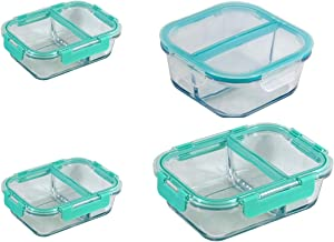 Flip n' Fresh GFS-2S-2LP-8PC Compartment Glass Food Storage-8PC Set, Assorted-21, 27 & 51 oz