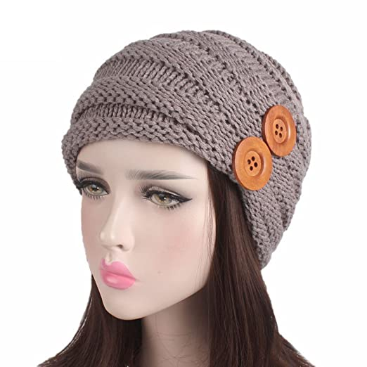 Shybuy Winter Women Juniors Stylish Beanie Cabled Checker Pattern Knit Hat  with Two Button Decor Cap 0ffddcdfe76