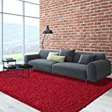 iCustomRug Cozy Soft And Plush, 7ft10in x 10ft ( 8X10 ) Shag Area Rug In Red