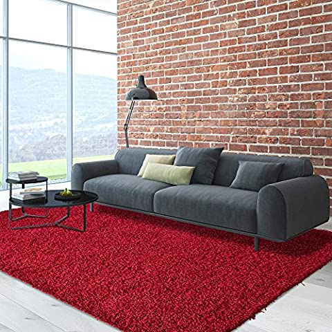 iCustomRug Dixie Cozy Soft And Plush Pile, 7ft10in x 10ft ( 8X10 ) Shag Area Rug In Red - Red Shag Carpet