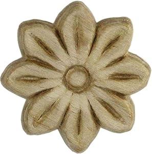 "UNIQANTIQ HARDWARE SUPPLY Flower Medallion Birch Wood Applique - 1-1/2"" Onlay Antique & Modern Furniture Doors, Walls Carved Ornamental Decor | G10-3100"
