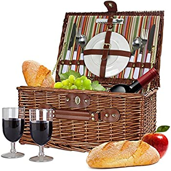Bringalong Wicker Picnic Basket - 2 person - Classic Brown w/ Plates & Wine Glasses