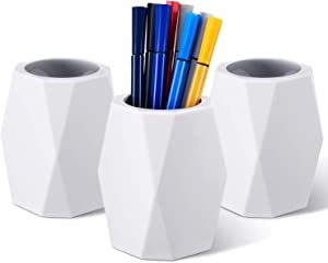 3 Pieces Silicone Pencil Holder White Geometric Pen Cup Makeup Brush Holder Desktop Stationery Organizer Pen Container for Office Home School Supplies