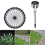24 Outdoor Solar Power Stainless Steel LED Light Lawn Garden Landscape Path Lamp