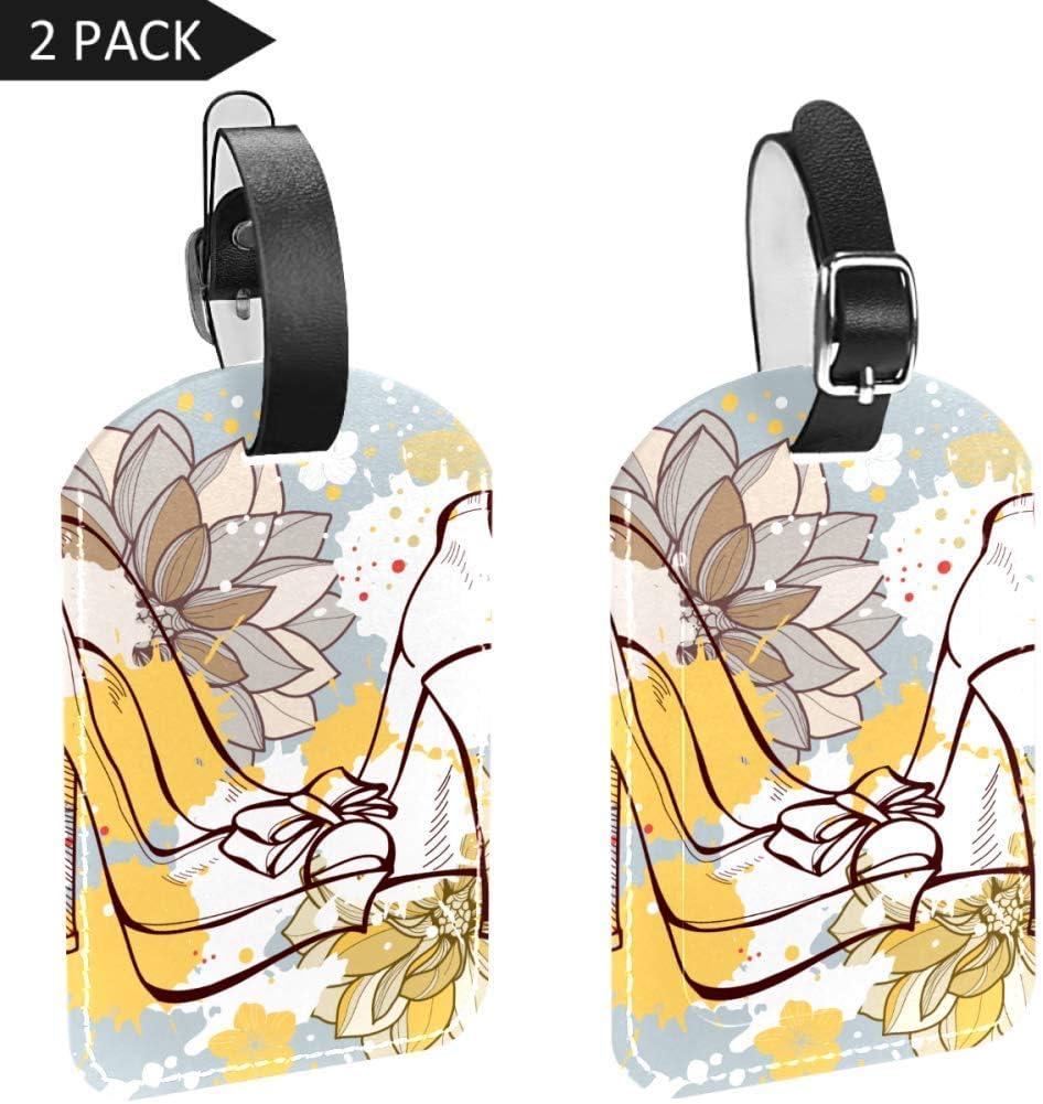 2 Etiquetas de Equipaje de Piel sintética con Casco de Calavera para Bolsa de Viaje Suicase, Tacón Alto Floral (Multicolor) - xlp-003