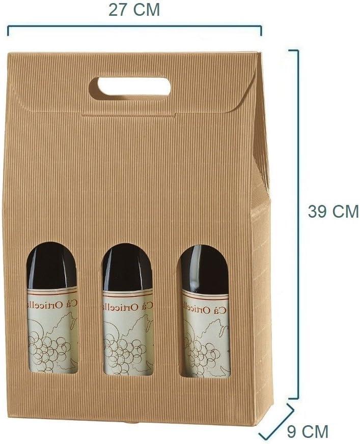Caja porta botella (3 botellas) de cartón ondulado, 20 unidades: Amazon.es: Hogar