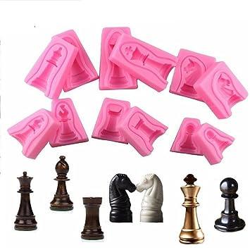 Molde de silicona para fondant de ajedrez internacional, molde de azúcar, moldes de jabón