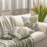 Phantoscope New Living Series Coffee Color Decorative Throw Pillow Case Cushion Cover Dahlia Set of 2
