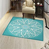 Turquoise Small Rug Carpet Round Curving Tree Branches Pattern Infinite Circle Symmetrical Cuves Floral Design Door mat Indoors Bathroom Mats Non Slip 2x3 White