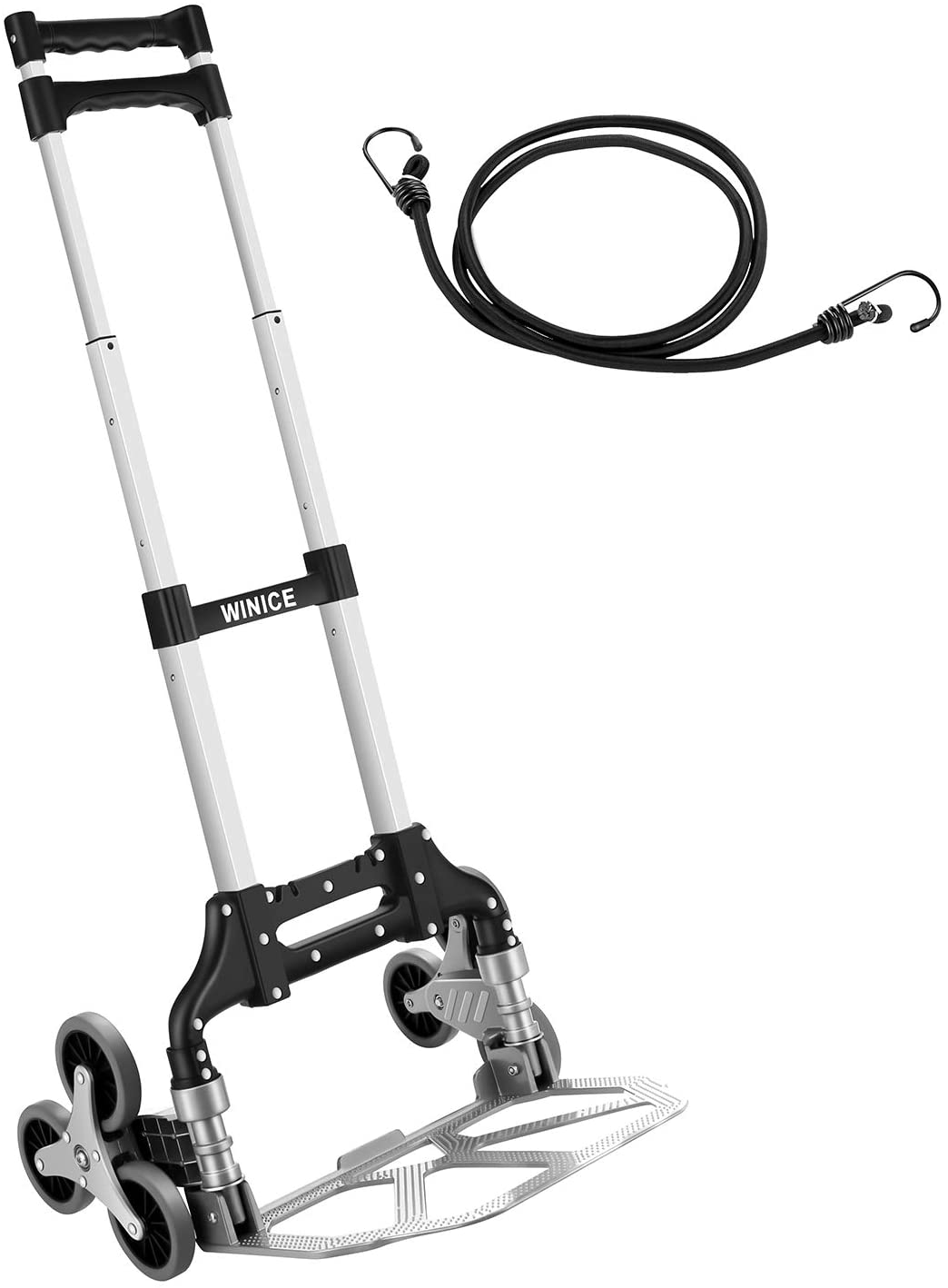 Stair Climber Trolley Portable Folding Trolley Height Adjustable Climbing Cart Rubber Three-Wheels for Supermarket, Home