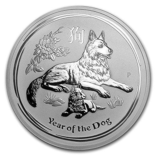2018 AU Australia 10 oz Silver Lunar Dog BU Silver Brilliant Uncirculated