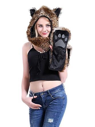 Animal Plush Faux Fur Bear Tiger Leopard Print Paws Mittens Gloves Scarf Costume