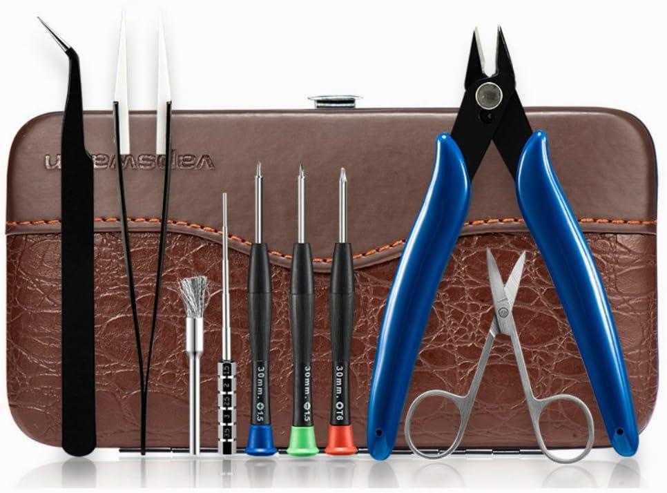 Cigarrillo electrónico Kit de herramientas de bricolaje con destornilladores 3pcs Cepillo de acero Tijeras Tijeras de cerámica Alicates diagonales Pinzas curvas para Vape RDA RBA RTA 9in1