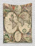 Ambesonne Old World Globe Map Antique Ancient Historical America Africa Europe Pattern Unique Decor Digital Printed Tapestry Wall Hanging Living Room Bedroom Dorm Decor, Beige Green Gray Orange
