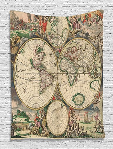 """Ambesonne World Map Tapestry, Antique Design with Renaissance Continents and Hemispheres Vintage Art, Wall Hanging for Bedroom Living Room Dorm Decor, 40"""" X 60"""", Beige Green"""