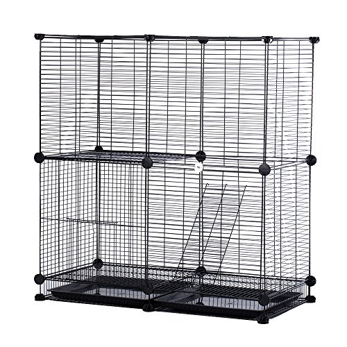 Modular Add-Up Small Cat (Kitten) Small Dog (Puppy) Cage Playpen Series CW63088 (Black Basic) by CHEERWEPET