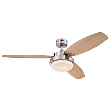 Westinghouse 7204100 Alloy Two-Light 52  Reversible Plywood Three-Blade Indoor Ceiling Fan, Brushed Nickel