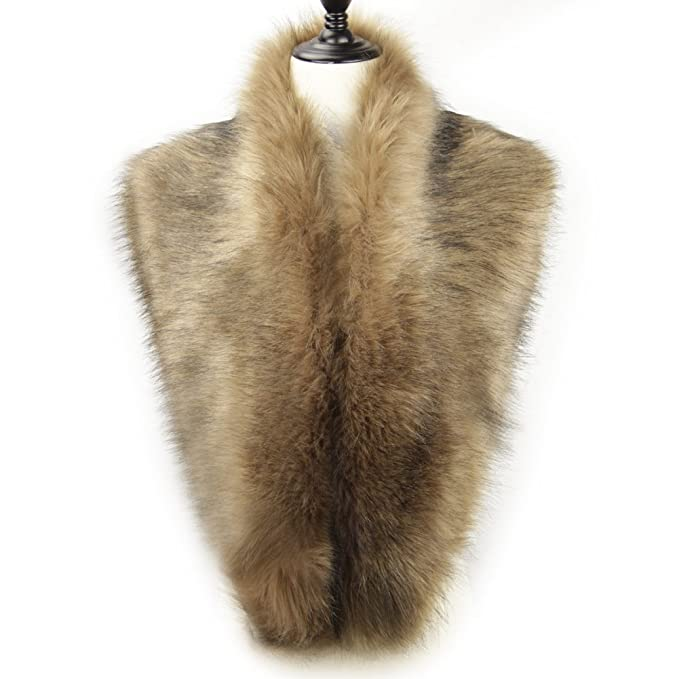 1920s Style Wraps Dikoaina Extra Large Womens Faux Fur Collar for Winter Coat $19.99 AT vintagedancer.com