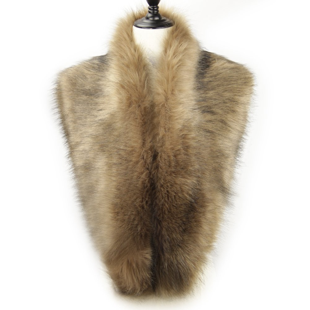 Dikoaina Extra Large Women's Faux Fur Collar for Winter Coat (120cm, Deep Khaki)
