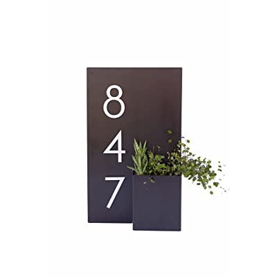 Modern Aspect Address Planter Box (Grey) : Garden & Outdoor