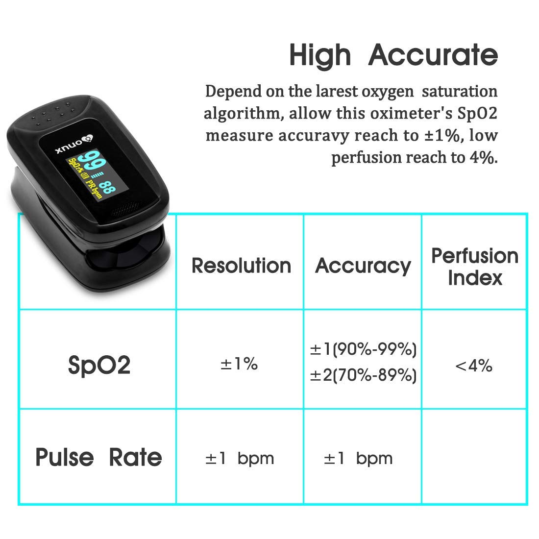 XNUO X5 Pulse Oximeter, Fingertip Blood Oxygen Saturation, Sats Monitor for  Family Health Care, No Button, Automatic Reading, OLED Display, Soft
