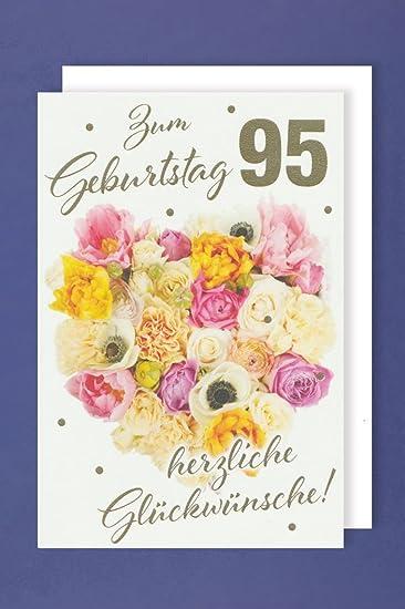 Karte 95 Geburtstag Strauss Voller Blumen 16x11cm