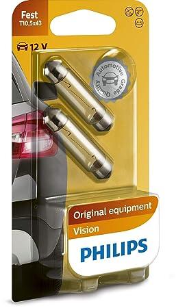 Philips 12866B2 - Bombillas para coche (C10W, T10, 5 x 43, 2 unidades): Amazon.es: Oficina y papelería