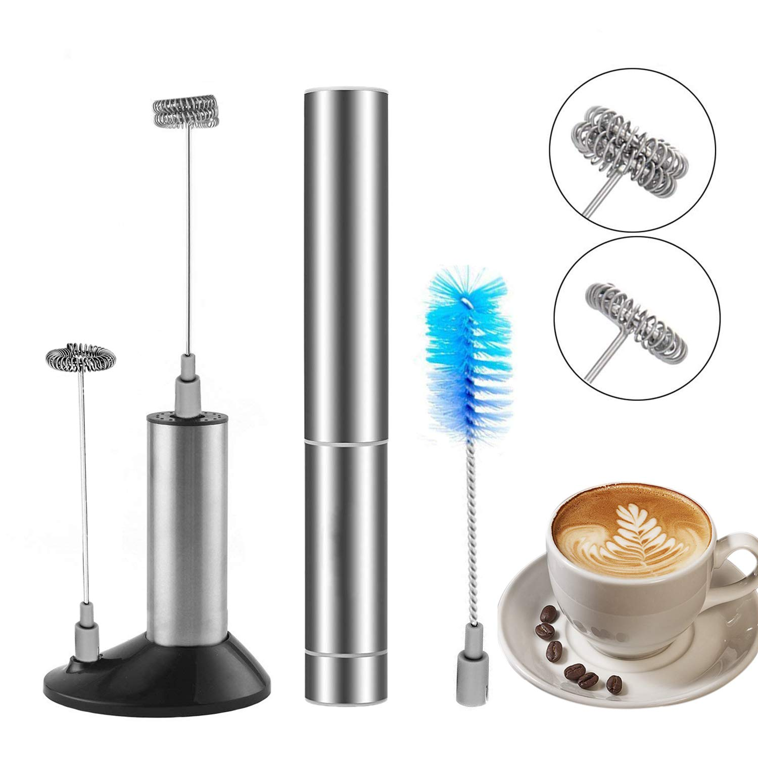 Electric Milk Frother, Handheld Foam Maker, Battery Operated Whisk, Powerful Electric Stainless Steel Foam Maker Beater With Double and Single Spring Whisk Head, Cleaning Brush, Storage Tube and Storage Stand
