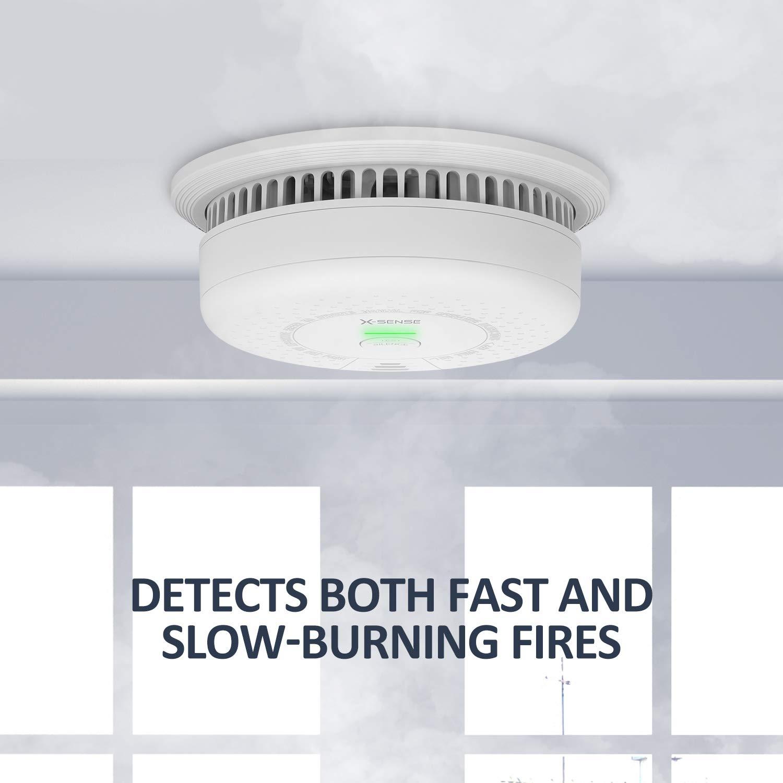 SD03 rileva gli incendi a combustione lenta e gli incendi a combustione veloce con batteria durata di 10 anni set di 3 X-Sense Allarme rilevatore di fumo certificato BSI indicatore LED