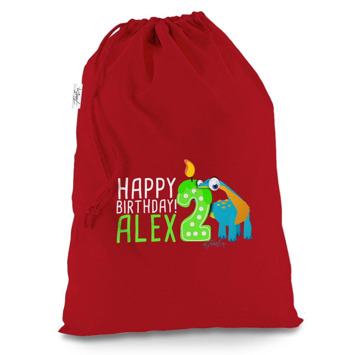 Personalised Baby Dinosaur 2Nd Birthday Large Red Luxury Christmas Santa Sack