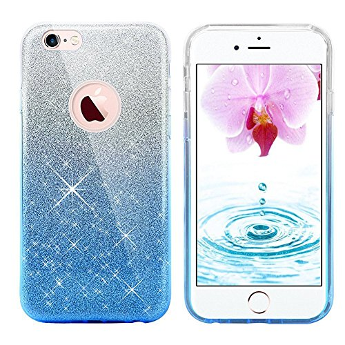 iPhone 7 Case, iphone 8 case,Eraglow iPhone 7 / 8 Back Cover Shinning Protective Bumper sparkle Bling Glitter Case for 4.7 inches iPhone 7 & 8 (Gradient-blue)
