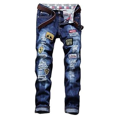 última venta vanguardia de los tiempos muy agradable YRHDC Hombre Agujeros Parche Bordado Insignia Jeans Rectos ...