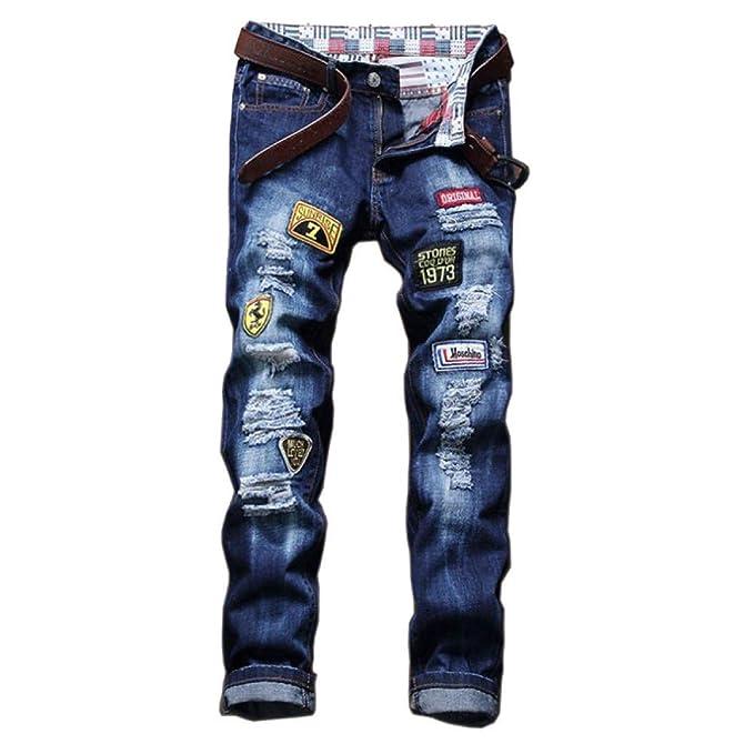 YRHDC Hombre Agujeros Parche Bordado Insignia Jeans Rectos Ocio Slim Fit Skinny Denim Pantalones Pantalones De Algodón: Amazon.es: Ropa y accesorios