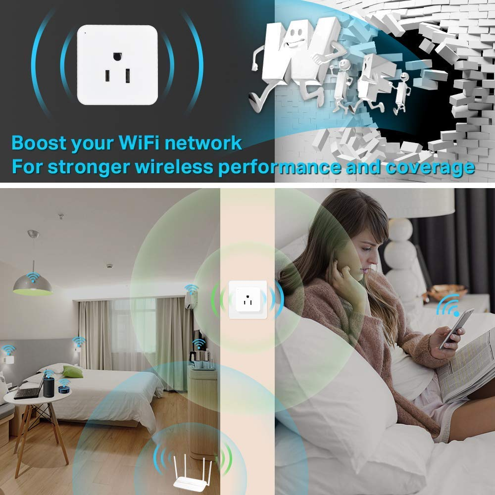 You Can Turn The Light On//Off from Anywhere Google Home Wsky Wifi Smart Plug Best Wireless Outlet Plug for Alexa - 2 Pack A Secured 2.4 GHz Wi-Fi Network Connection Required