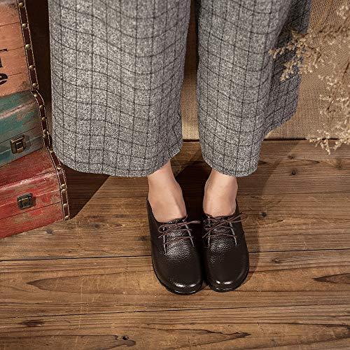 Holywin Casual Cuir En Simples Rétro À Pour Cousues Bottes Principale Dames La Chaussures Marron Sauvages qFHrRWzqn