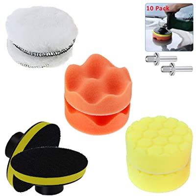 Car Body Polishing Pads Kit for Drill, Sponge Buffing Pads with Car Polisher Woolen Buffer Pad, Auto Waxing Applicator, 3 Inches 8pcs, Boost Brightness of Vans, Glass, Stone, Ceramic, Furniture: Automotive