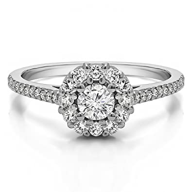 c82ad940e75fe Amazon.com: TwoBirch .57 ct. Cubic Zirconia Flower Halo Promise Ring ...