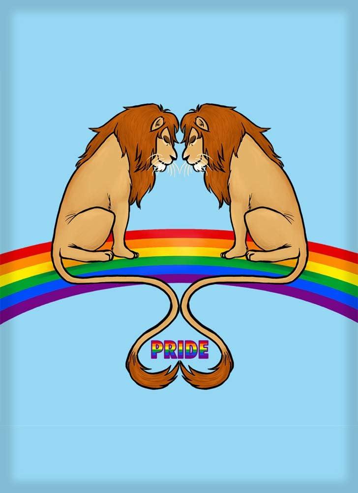 Lions on Rainbow Gay Pride LGBT Love Fridge Magnet