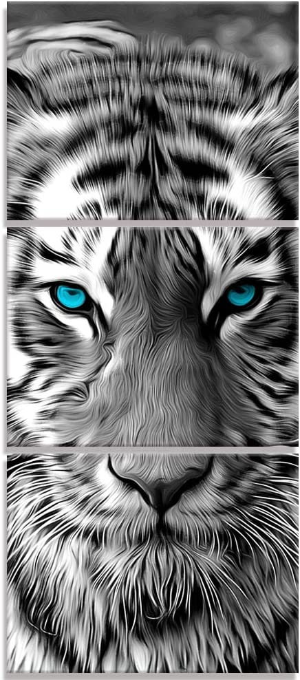 Visual Art Decor Abstract Animals Painting Pritns Black and White Tiger with Teal Blue Eyes Wildlife Picture Canvas Wall Art for Home Office Bedroom Decoration Ready to Hang (01 Tiger)
