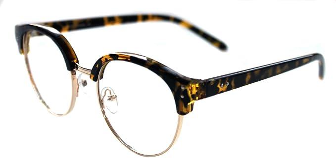 d8c9fbde47 Women s Soho Clubmaster Round Shape Horn Rimmed Half Shell Clear Lens Eye  Glasses Retro 60 s 70 s
