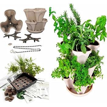 Superb Garden Stacker Planter + Indoor/Outdoor Culinary Herb Garden Kit   Grow  Cooking Herbs