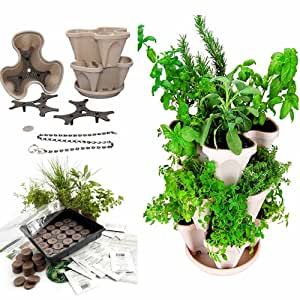 Garden Stacker Planter + Indoor/Outdoor Culinary Herb Garden Kit - Grow Cooking Herbs- Seeds: Parsley, Chives, Savory, Garlic Chives, Mustard, More - Stone Color Stackable Planter