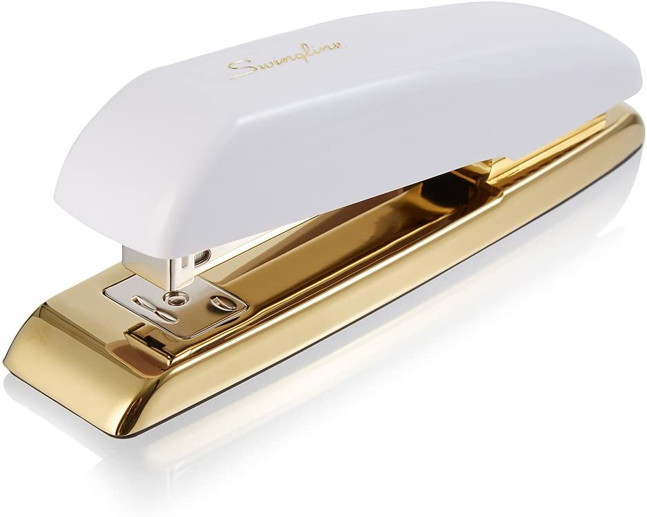 Swingline Stapler, Desktop Stapler, 20 Sheet Capacity, White/Gold (64701)